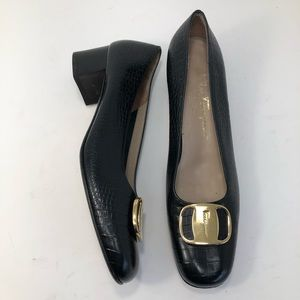Salvatore Ferragamo Leather Croc Embossed Heels